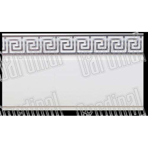 Декоративна накладка біла із срібним молдингом